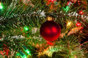 Red Christmas bulb hanging on a Christmas Tree