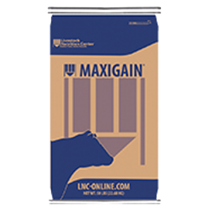 Livestock Nutrition Center feed bag. Blue with tan middle. Features a cow silhouette