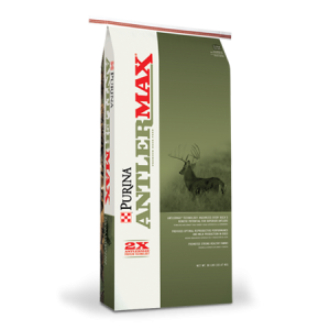 AntlerMax Deer 20 with Climate Guard feed in a green and white bag