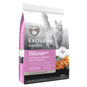 Exclusive Weight Management Hairball Control Chicken Brown Rice feed bag