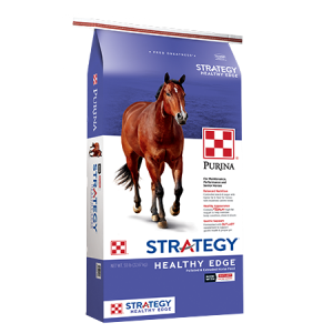 Purina Strategy Healthy Edge Horse Feed Bag. Purple and white featuring a brown horse.