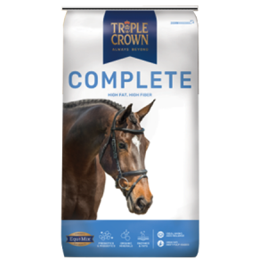 Triple Crown Complete feed in a white bag with blue lower band. Features a photo of a brown horse.